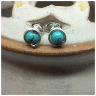 Turquoise Studs Turquoise Posts Turquoise Earrings Sterling Silver Wire Wrapped