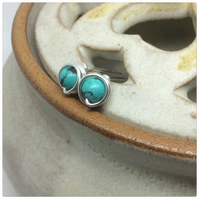 Turquoise Studs Turquoise Earrings Silver  Wire Wrapped December Birthstone