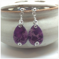Purple Impression Jasper Earrings 925 Sterling Silver Wire Wrapped Earrings