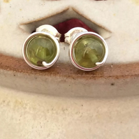 Peridot Studs Sterling Silver Wire Wrapped August Birthstone Peridot Posts