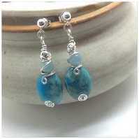 Azurite Chrysocolla Wire Wrapped Earrings Aquamarine Earrings Sterling Silver