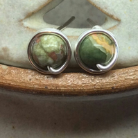 Rhyolote Jasper Studs Silver Plated Green Jasper Wire Wrapped Studs Posts