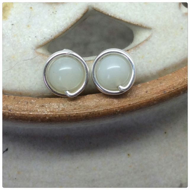 Moonstone Studs Moonstone Posts Sterling Silver Wire Wrapped June Birthstone