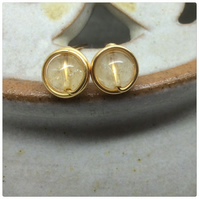 Citrine Studs Citrine Wire Wrapped Studs November Birthstone Gold Plated Posts