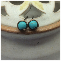 Turquoise Studs Turquoise Posts Turquoise Genuine Gemstones Earrings