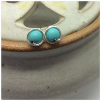 Turquoise Studs Turquoise Posts Turquoise Genuine Gemstones Earrings Silver