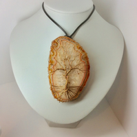 Agate Slice Tree Of Life Pendant  Winter Tree Wire Wrapped Pendant Unisex Mens