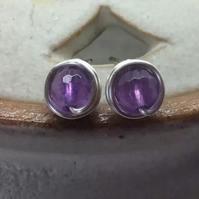 Purple Amethyst Stud Earrings Wire Wrapped Studs February Birthstone Studs UK