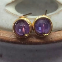 Purple Amethyst Stud Earrings Gold Plat Wire Wrapped Studs February Birthstone