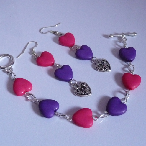 Sweetheart Earrings and Bracelet Set