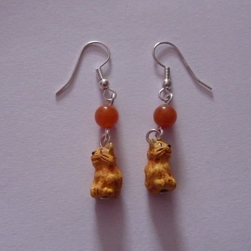 Red Aventurine and Ginger Kitties Earrings