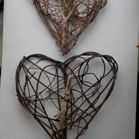 Nature Lover's Rustic Hearts driftwood, woven willow, hedgerow weaving,