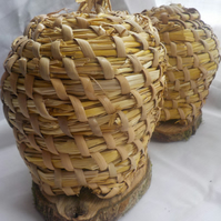 Miniature Bee-skep hive style, honey pot cover, beekeeping, natural container
