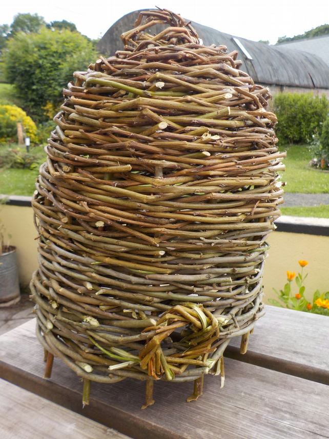 Rustic Alveary bee-hive woven willow hazel (pre Anglo Saxon style) made to order