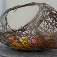 Wild Hedgerow Autumn vegetable basket, woven willow hazel, wicker, ready now