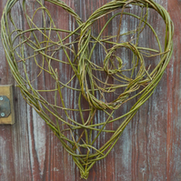 Natural Woven Willow Spiral Heart, St Dwynwen's day, Valentine, made to order