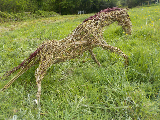 Horse, pony, woven willow. animal sculpture, custom order, made to order