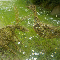 Animal sculpture, woven willow, Goose, ready now, hare, other animal commissions