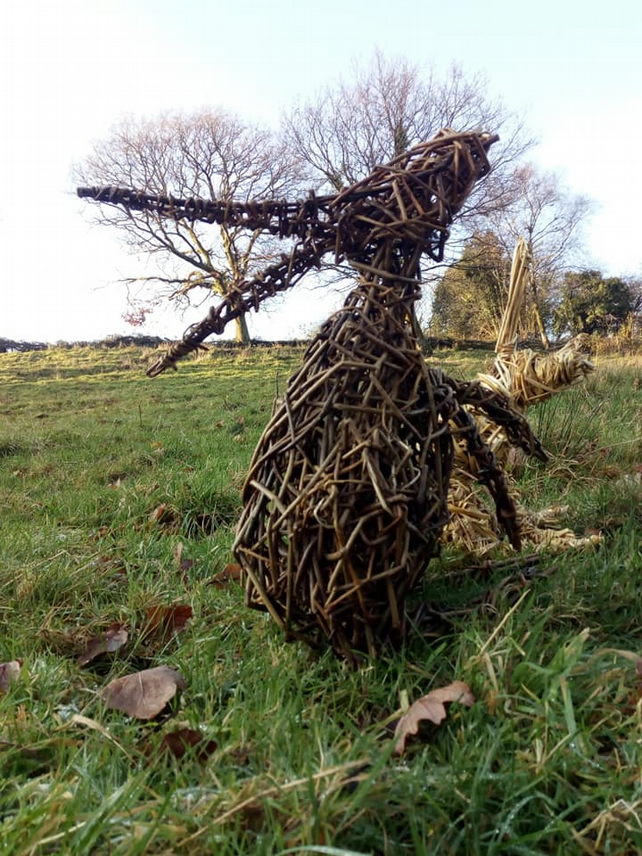 Animal sculpture, woven willow, Goose, hare, other animals, birds, commissioned