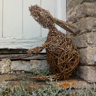 Animal sculpture, woven willow, wicker, birds, hare, animals, handmade