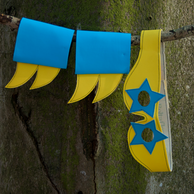 star mask and cuff set (yellow turquoise)