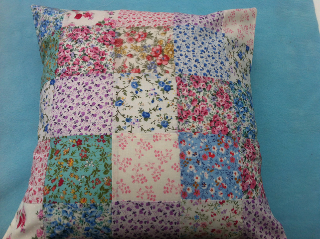 "16""patchwork cushion,pillow cover in floral,shabby chic fabrics"