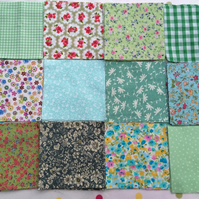 "40 x 4"" green  cotton patchwork squares , quilt,sewing,craft,charm packs"