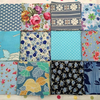 "40 x 4"" blue patchwork squares , quilt,sewing,craft,charm packs"