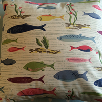 Cath kidston river fish white fabric cushion,pillow cover,childrens cover