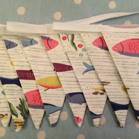 10 ft bunting,banner,flag,wedding,event in cath kidston river fish fabrics