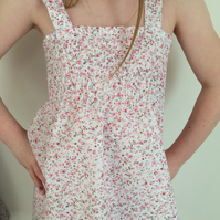 Smock style  summer girls dress in  floral fabric
