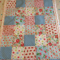 Patchwork childs quilt,blanket in cath kidston fabrics and fleece