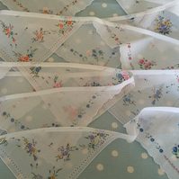 20 ft White floral hankie  bunting,banner,flag,wedding,event