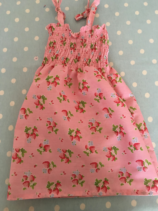 Aged 1-3 Smock style summer dress in  pink strawberry design cotton fabric