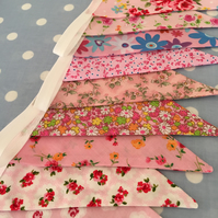 10 ft pink double sided bunting,banner,wedding,event,flag in cotton fabrics