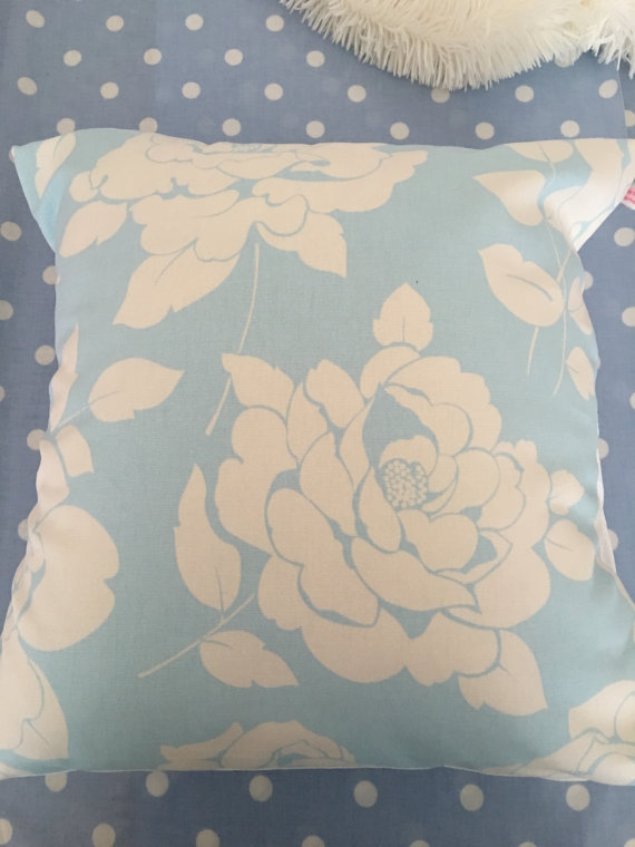 Cushion cover in Cath Kidston blue mono rose cotton duck fabric