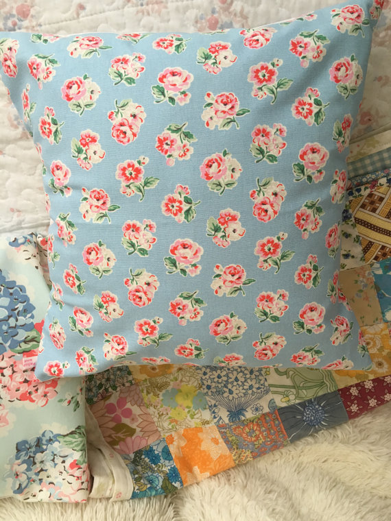 Cushion cover in Cath Kidston blue Ashdown  rose cotton duck fabric
