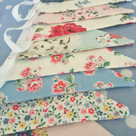 Cath Kidston cotton fabric bunting,banner,party flag,shabby chic,