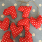 Red polka dot fabricmini heart garland, bunting and twine