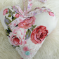 Large pink floral  fabric hanging heart with  ribbon and  lace