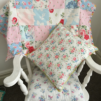 Patchwork throw,quilt,cot blanket in Cath kidston fabrics and cream fleece