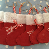 Christmas stocking garland,bunting in  red linen fabric,fur, ribbon, twine