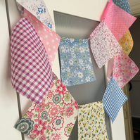 5 ft  cotton fabric bunting, banner, wedding,party flags