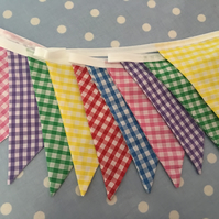 10 ft gingham  cotton fabric bunting, banner, wedding,party flags