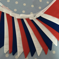 10 ft red, white & blue coloured bunting, banner, wedding,party flags