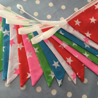 16 ft stars shabby chic, pastel coloured bunting, banner, wedding,party flags