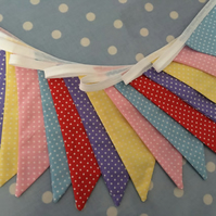 16 ft spotty  shabby chic, pastel coloured bunting, banner, wedding,party flags