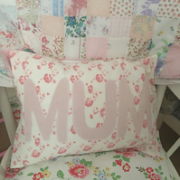 Appliqued  cushion ,pillow in shabby chic floral fabric