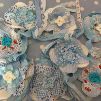 Blue cotton Flower bunting