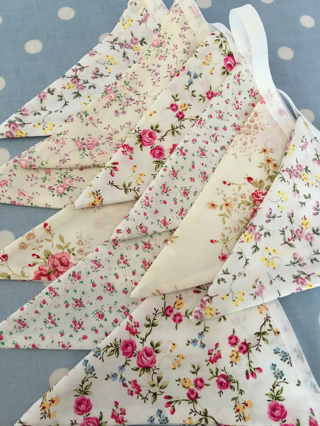 10 ft floral shabby chic cotton fabric bunting, banner, wedding,party flags